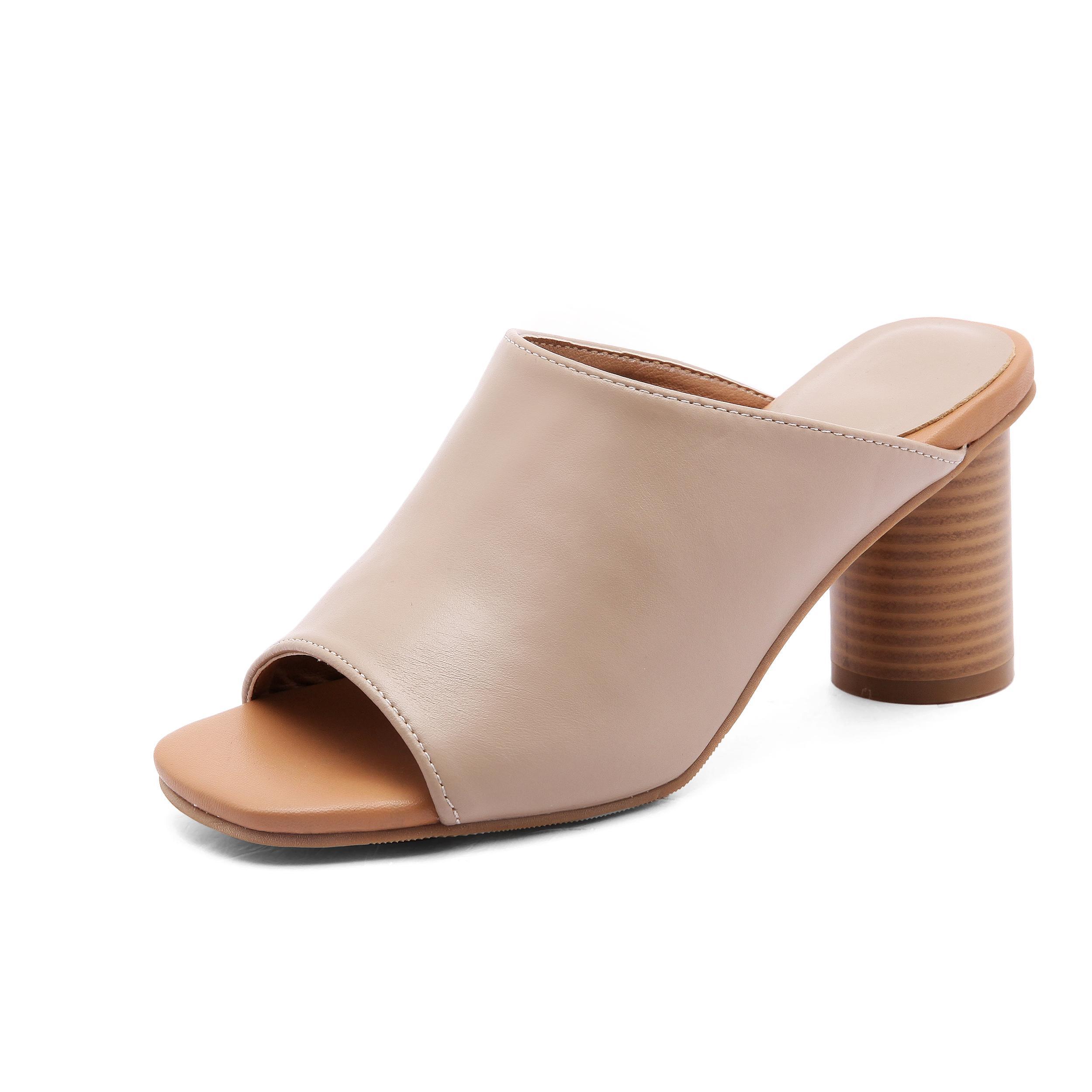 9dd446036653 Sandals women Summer 2019 New Style Korean Style Outer Wear Fashion Slipper  Leather Block Heel High