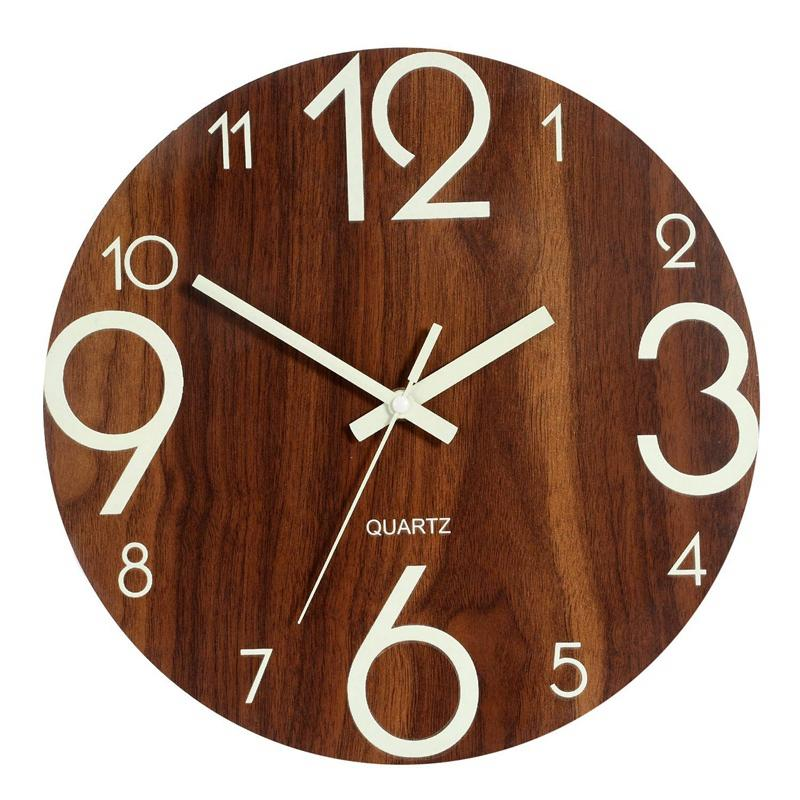 Luminous Wall Clock,12 Inch Wooden Silent Non-Ticking Kitchen Wall Clocks With Night Lights For Indoor/Outdoor Living Room Bedroom Decor Battery Operated