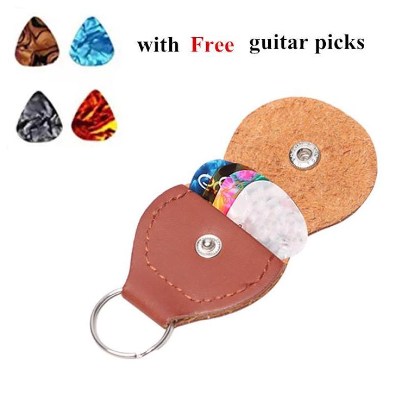 Keychain Guitar Picks Holder Bag - 4 free guitar picks - Leather Black/Brown Malaysia