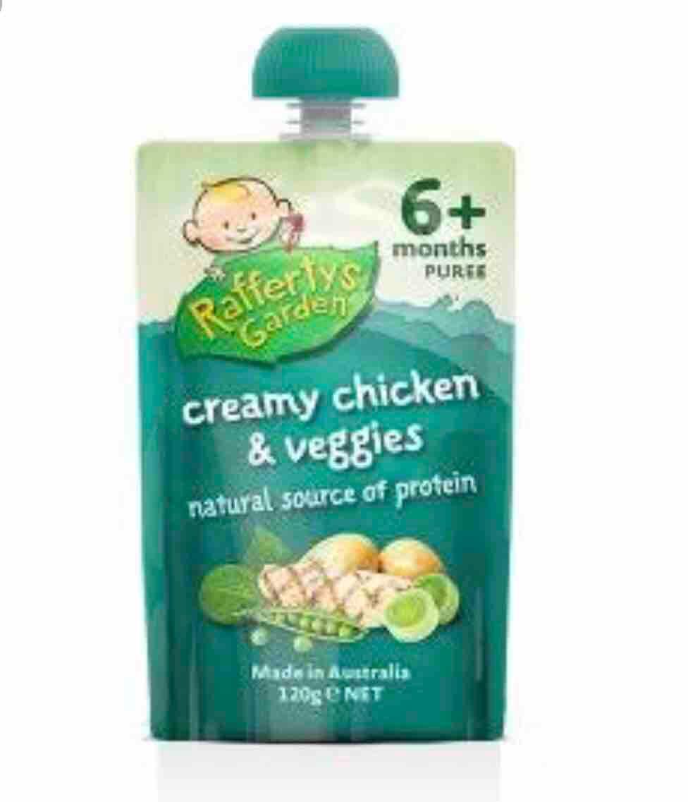 Raffertys Garden Creamy Chicken & Veggies Baby Food 6 Months + 125 G By Ozs Best Goodies Merchandise.