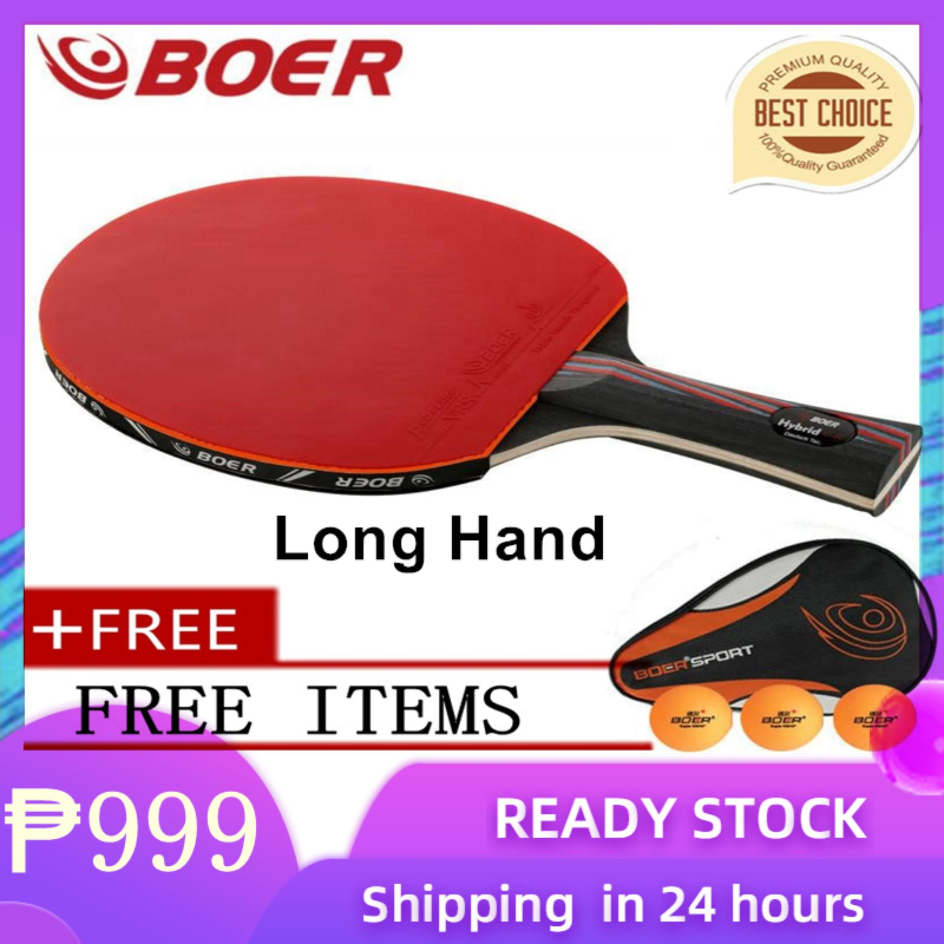 Original Boer 9 8 Table Tennis Racket Finished Pingpong Rackets Two Pimples In Rubbers Long Handle