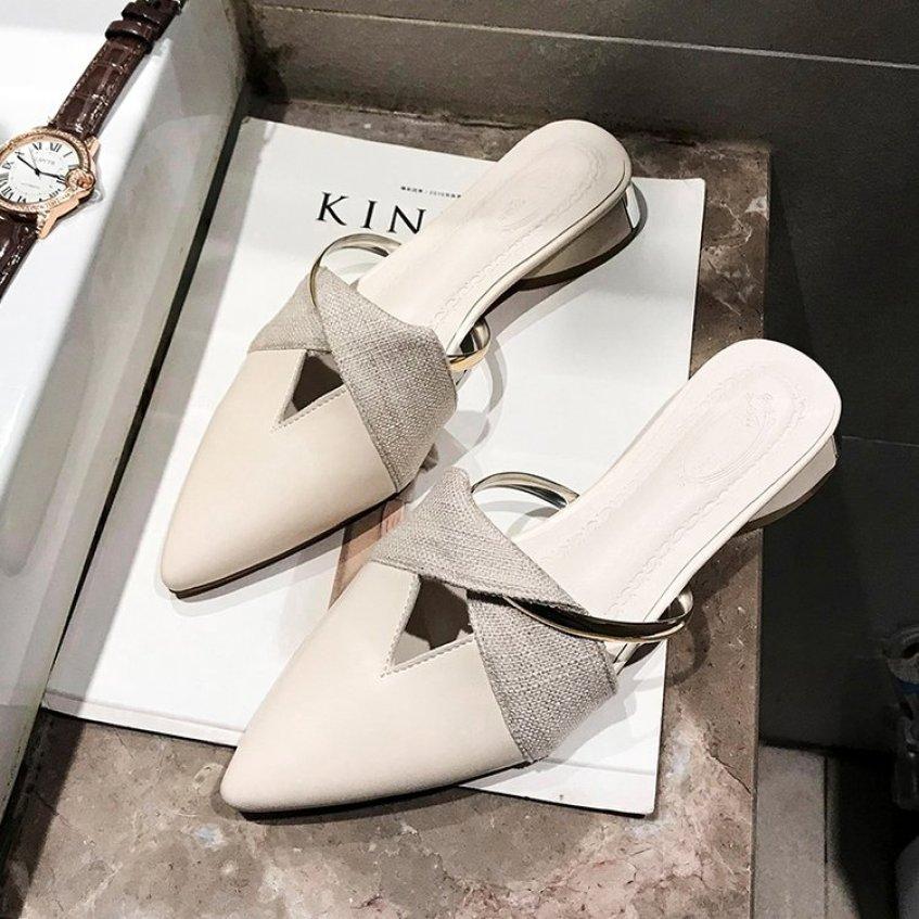 Bít Mũi Giày Sục Nữ Khoác Ngoài 2020 Mùa Xuân Thu Mẫu Mới Mốt Thời Thượng Đế Bằng Dễ Phối Phối Màu Đế Thô Đầu Nhọn Giày Kiểu Nửa Dép giá rẻ