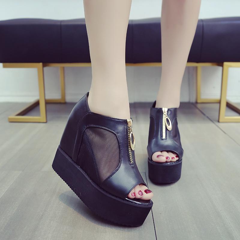e5be47807d1 High Heels Slanted Heel Peep-toe Sandals Female 2019 Spring Summer Sexy  Korean Style Gauze
