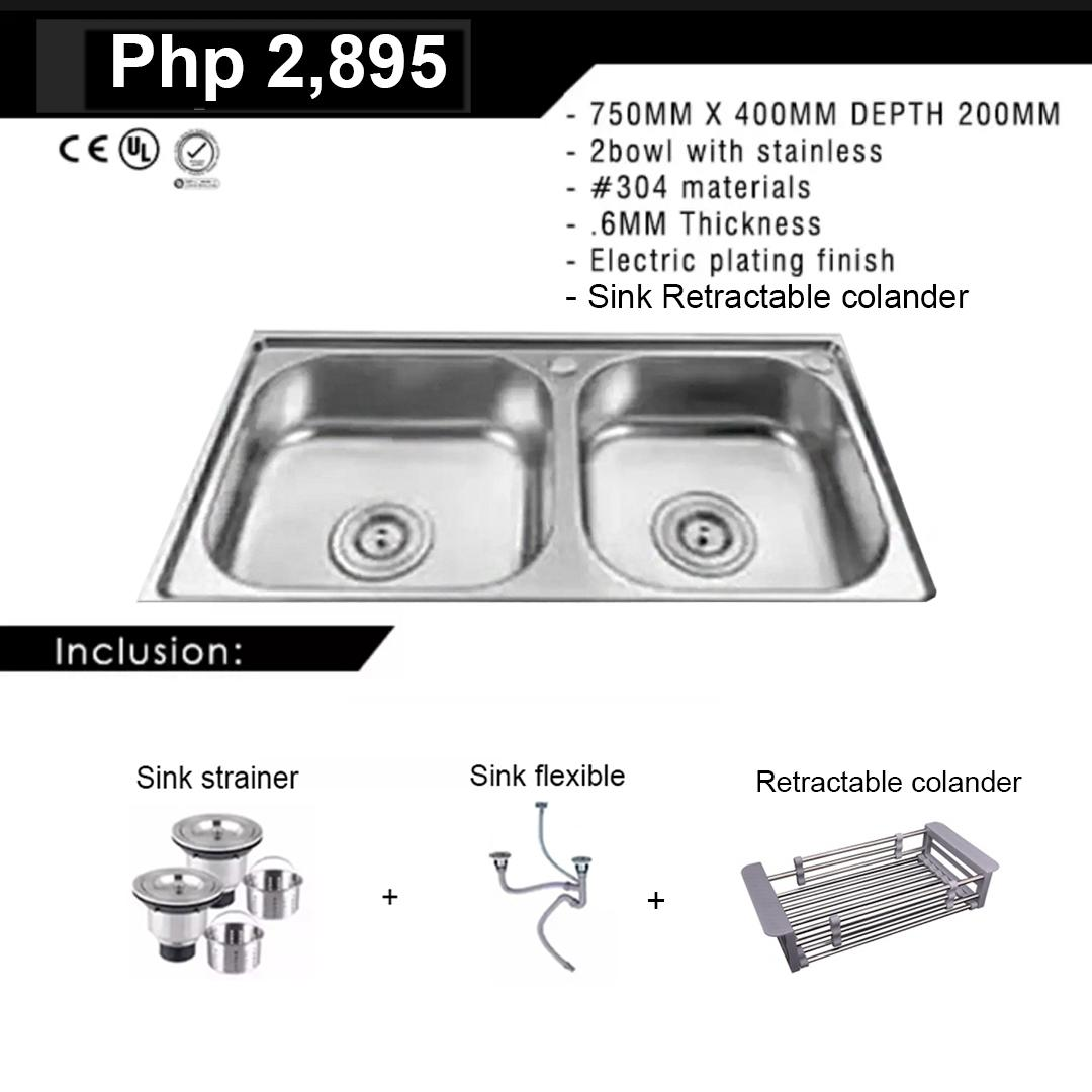Ruvati Usa Stainless Kitchen Sink 75x40x19 W Complete Fittings And Free Retractable Colander