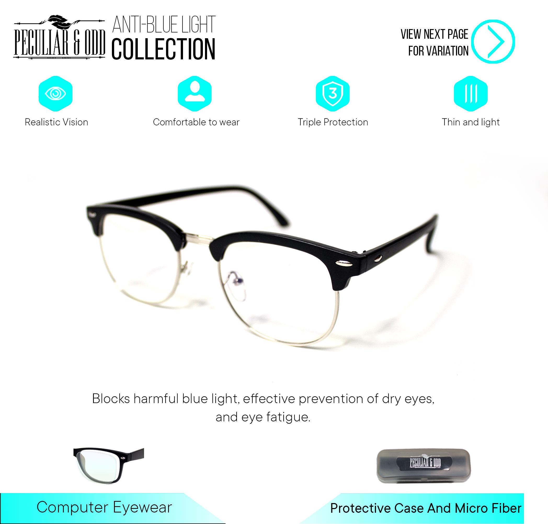 Peculiar Clubmaster Eyeglass 1365_livid Unisex Computer Eyeglasses Anti Radiation / Gaming / Gadget / Computer Replaceable Lens Optical Frame Blue Lens_new By Salimars Trading.