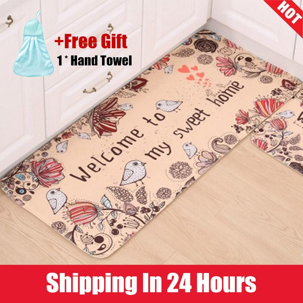 【Free Gift】40*60cm Bathroom mats kitchen rugs anti-skid pad cartoon