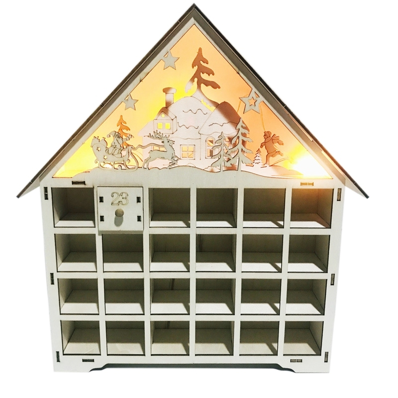 Wooden Advent Calendar Countdown Lights Christmas 24 Pull-Out Drawers LED Light Christmas Decorations Advent Calendar