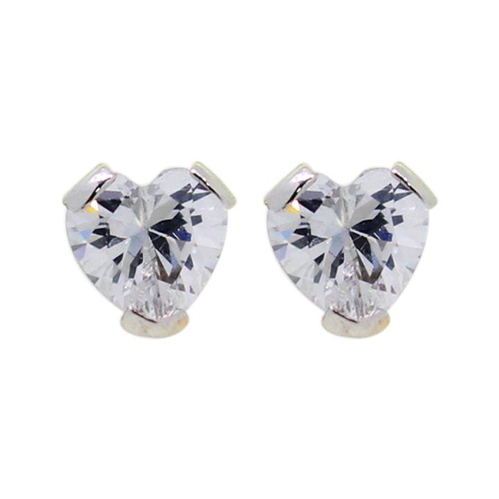 9c66d54dd175b Karat World. 14Kt white gold stud earring in heart shape with high quality  zircon.