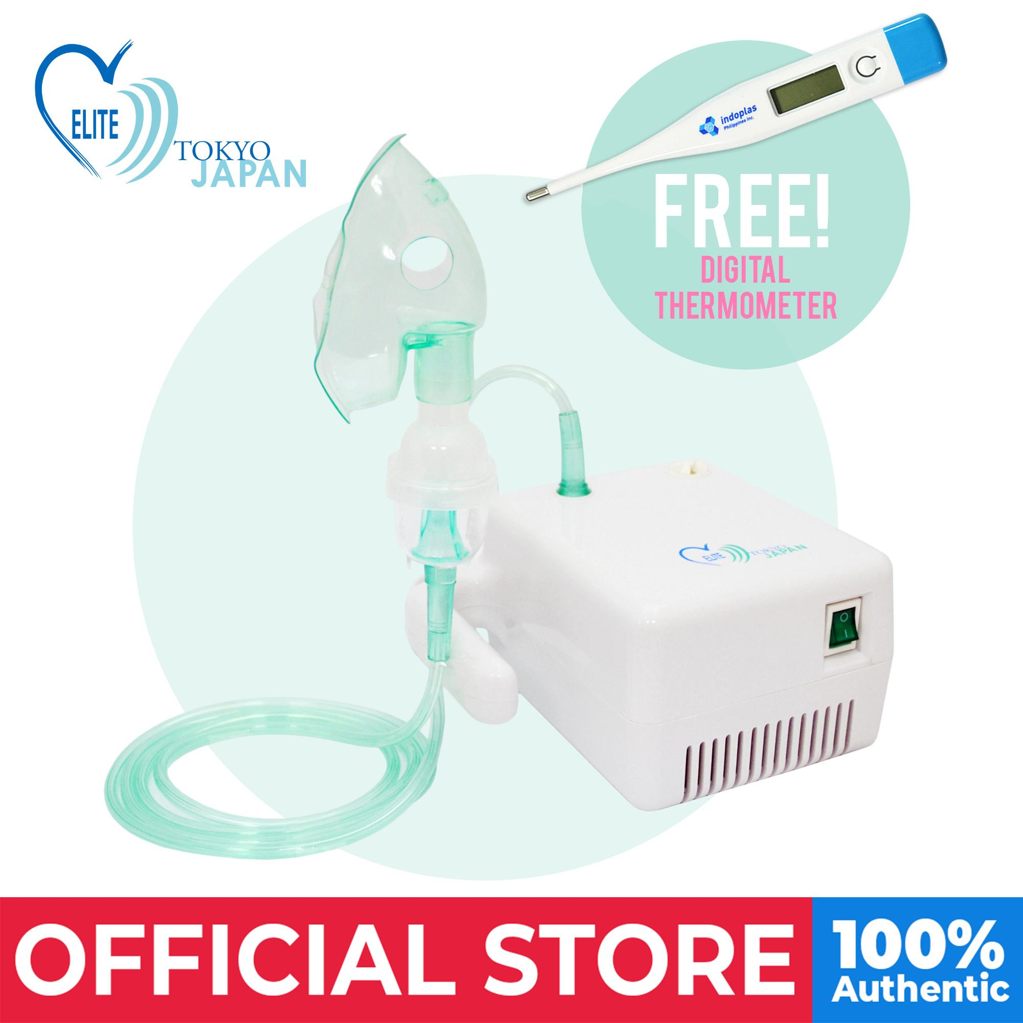 Elite Compact Nebulizer (w/ Complete Accessories) - Free Digital Thermometer By Medical Supplies Philippines.