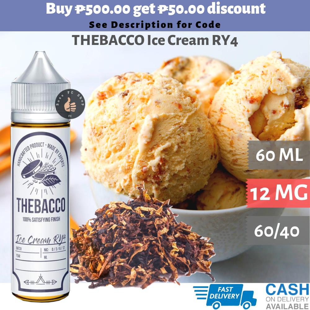 TheBacco 12mg 60ml Vape Juice Flavors: Ice Cream RY4 / Caramel Candy RY4 /  Toffee Bacco / Nutty Red Tobacco / RY4 Green The Bacco EJuice e-juice