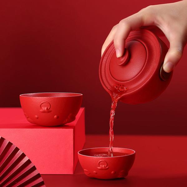 Ấm Trà Gốm Năm 2021 Tea Cup Set, Đồ Uống Văn Phòng Du Lịch Gia Đình Quà Tặng Năm Bò 2021 Gia Súc Kiếm Tiền Kun Một Nồi Của Hai Bộ Tách Trà Kung Fu Bằng Gốm