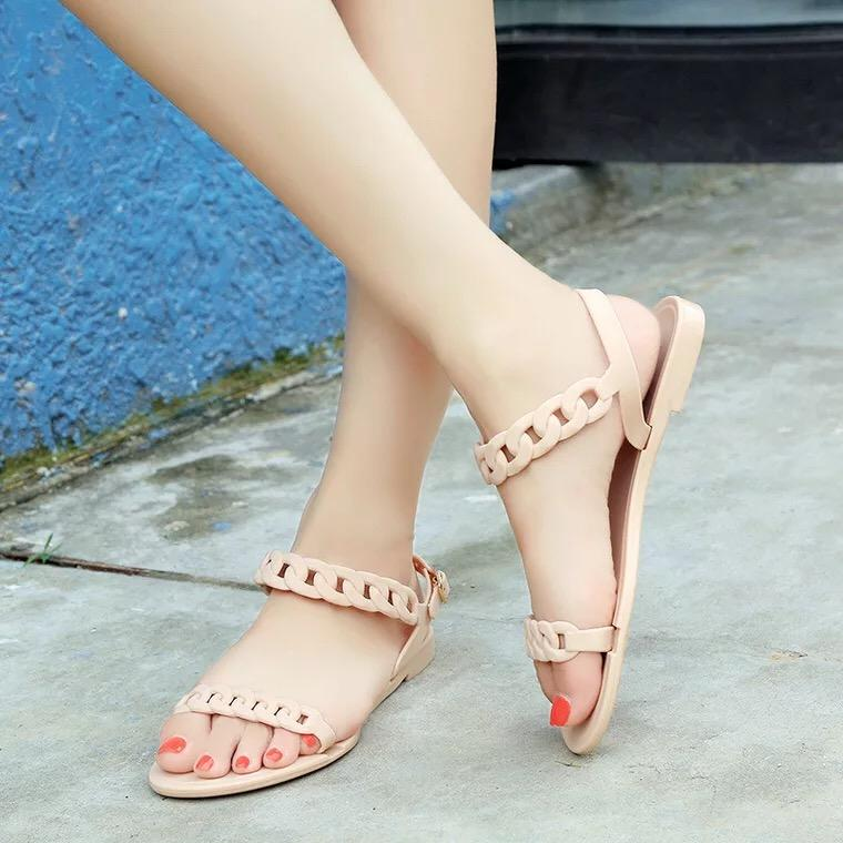 7eb6c29e4ed COD Matte matt round head flat bottom comfortable beach shoes jelly shoes  word sandals new women s