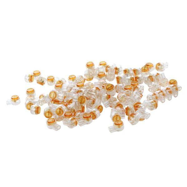 100 x Air Tight Orange Clear Button Cable UY Butt Splice Connectors