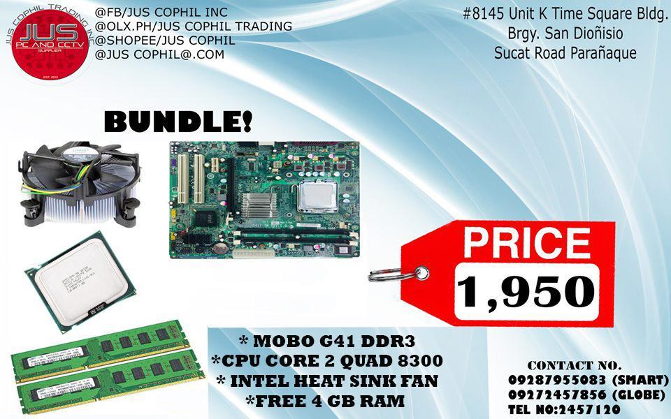 Bundle Mother Board G41 / CPU Core 2 Quad 8300 / Intel Heat Sink Fan/ Free  4gb RAM