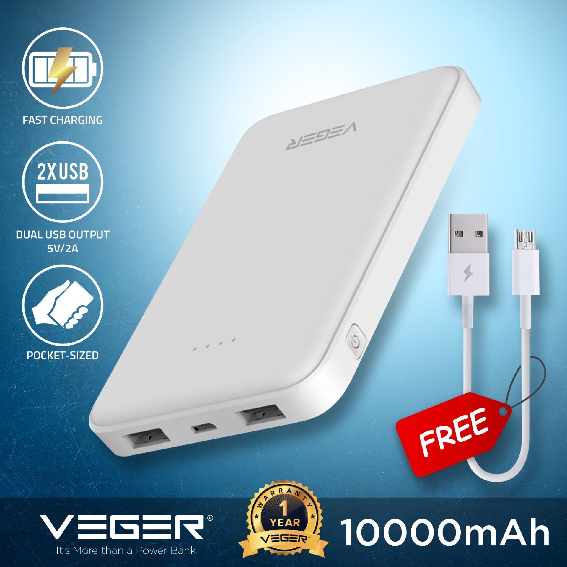 VEGER VP1018 10000mAh Power Bank Slim Pocket Style Mini Powerbank Micro USB 2.0A Input 2.0A Dual USB Output External Battery Compact Portable Charger.