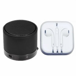 Bluetooth Speaker (Black) with Earphone (White) Bundle