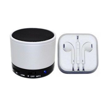 Bluetooth Speaker (Silver) with In-Ear Headset (White)