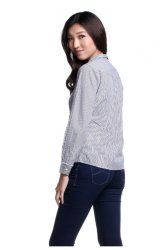 Bobson Ladies' Stripes Long Sleeves Shirt (Caviar)