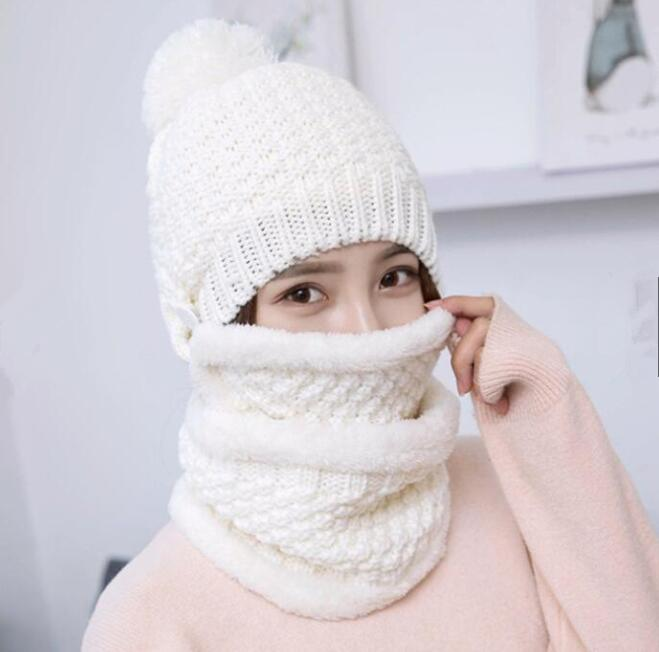 af93fdd71 1 set(3pcs) Winter Hat Scarf Mask Set Thick Warm Knit Outdoors Ski Beanie