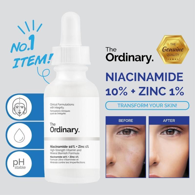 【Ready Stock】The Ordinary Niacinamide 10% + Zinc 1% 30ML Face Serum Oil  Balance Reduce Skin Blemishes Whitening Moisturizer