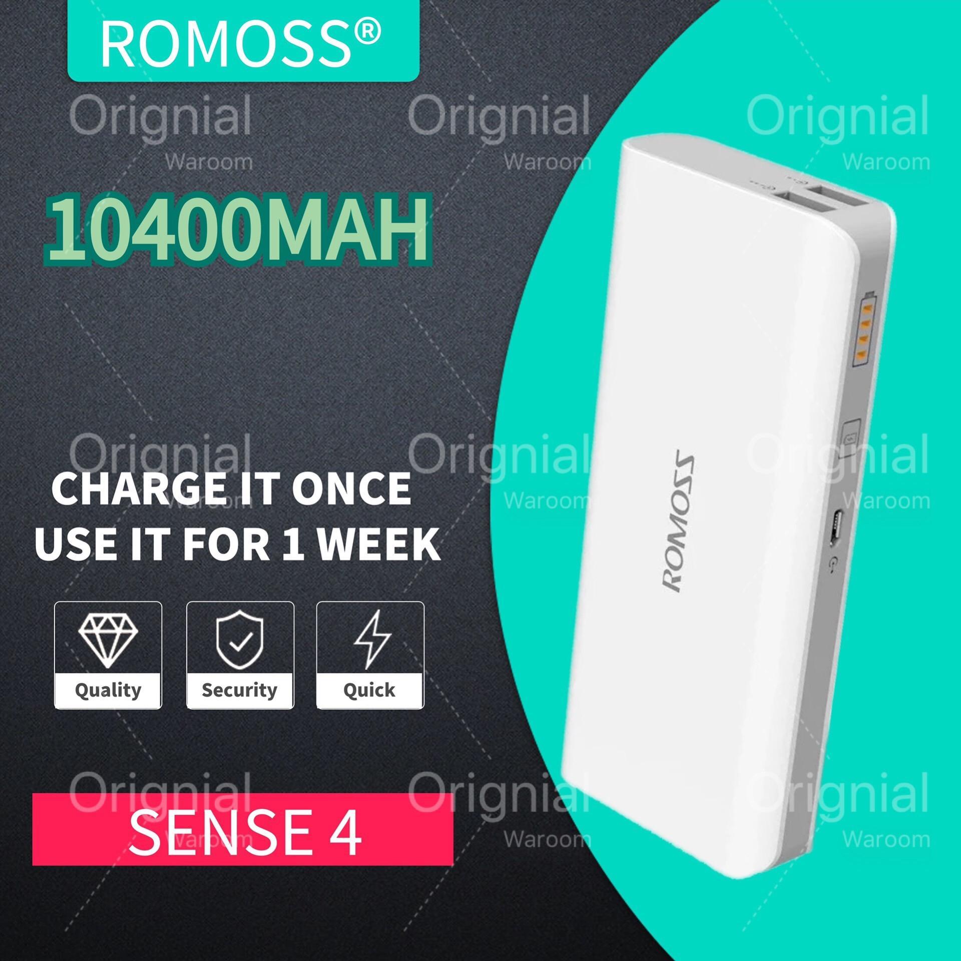romoss power bank Sense 4 ph50 10400MAH sense4 10400 mah powerbank ideo( WHITE) Original