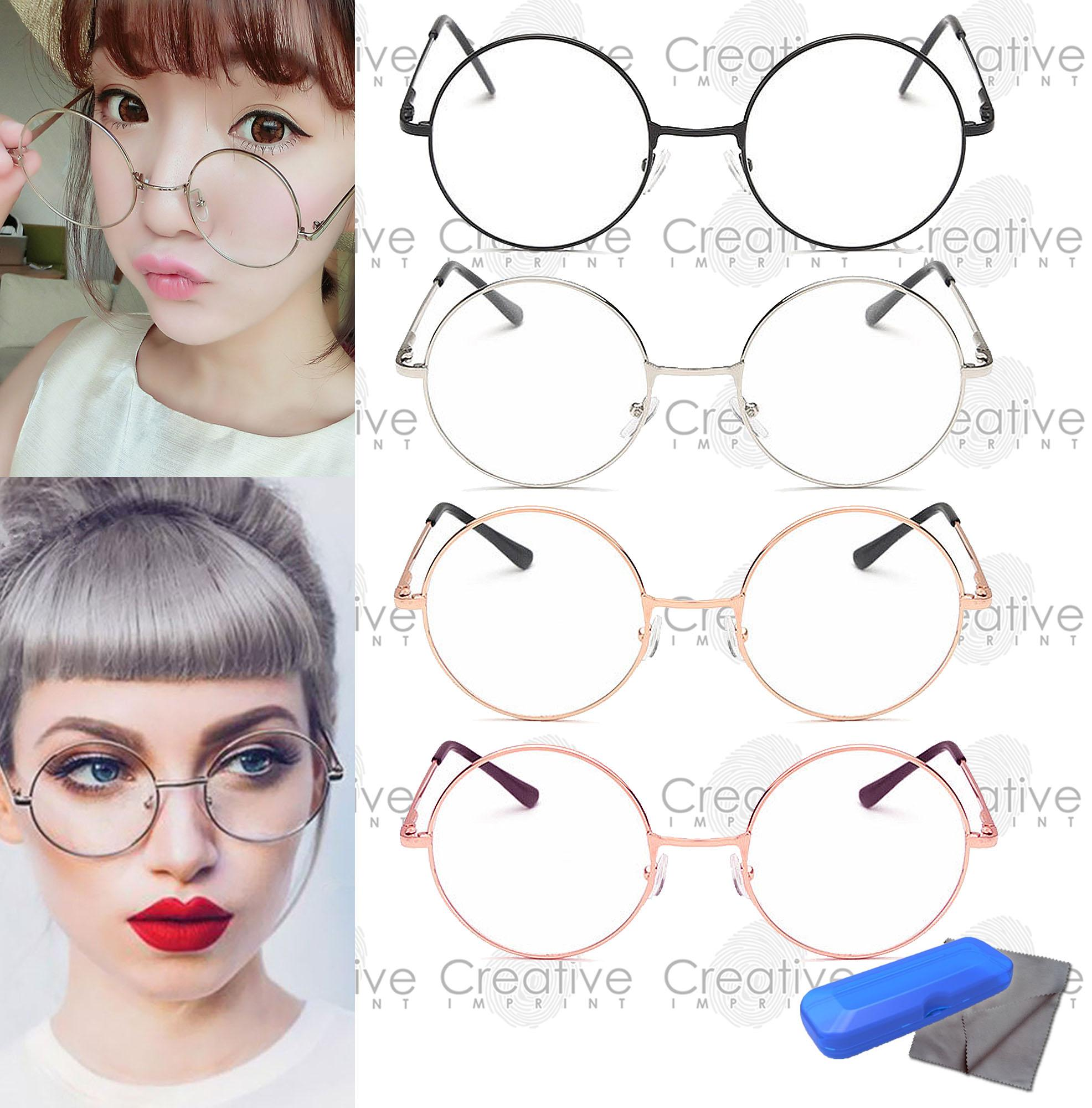 800b67a446c Creative Imprint Harry Retro Round Clear Specs (FREE CASE   WIPER) Flat  Lens Eyeglass