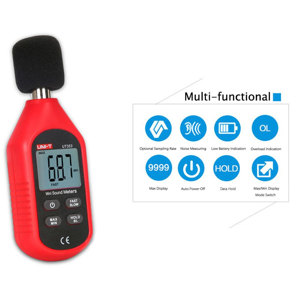 UNI-T UT353 Mini LCD Display Digital Sound Level Meter Noise Measuring Instrument Decibel Monitoring Tester 30-130dB