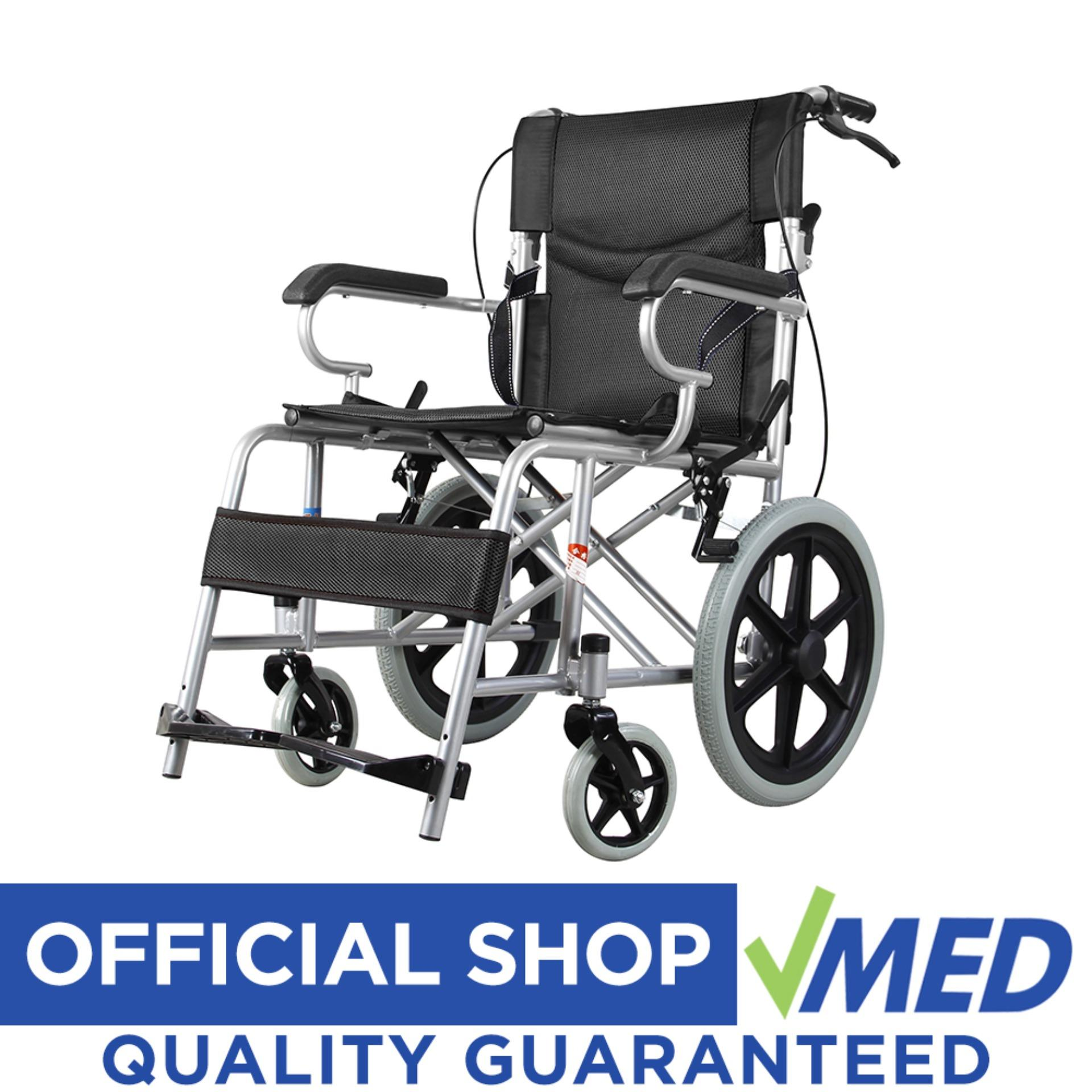 VMED Heavy Duty Lightweight Travel Wheelchair BLACK