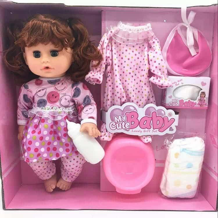 9d06363d93151 My Cute Baby Alive Girl Doll (BrownHair) Talking Dool Feed . Poop and change