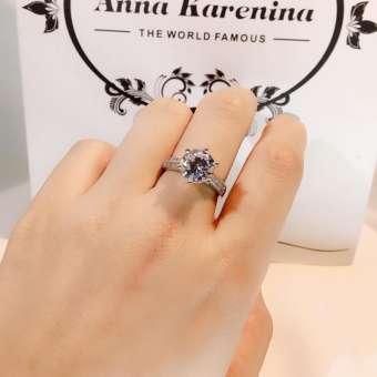 ผลิตภัณฑ์ใหม่การพรรณนาเกินจริงขนาดใหญ่สองกะรัตรุ่นผู้หญิงแบบจำลองแหวนเพชรหกกรงเล็บ DANISA ไม่ใช่เงินบริสุทธิ์เคลือบทองคำขาวคู่รัก Diamond แหวน