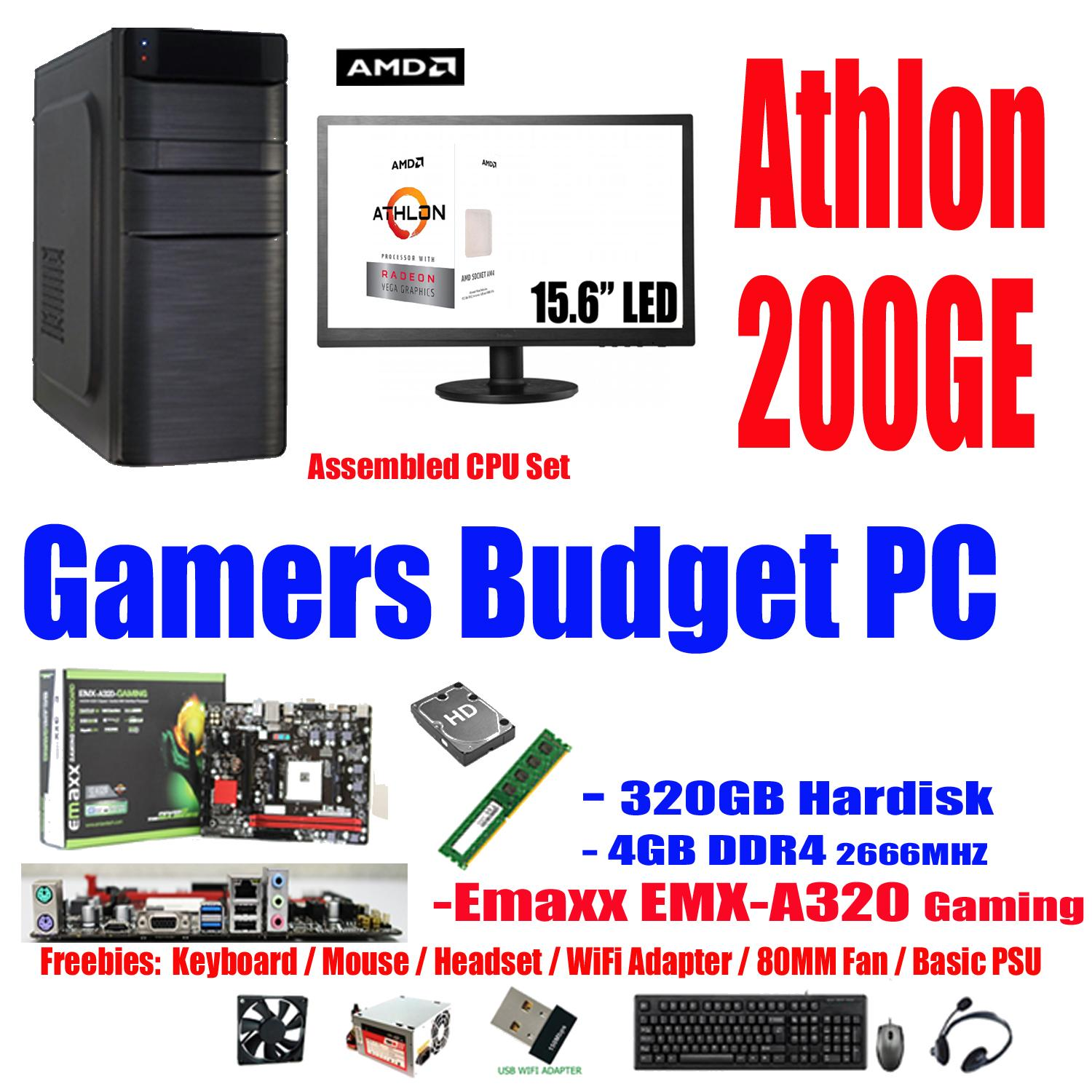 Emaxx PC15.6 320GB - 4GB , AMD Athlon 200GE 2-Core, 4-Thread, 3.2GHz 35W. (Alternative to: Intel Core i3-8100 i3-7100 Pentium G4560 G4600 G5400 Celeron G4930 AMD Kaveri a8-7650k a6-7400k richland a4-6300 Bristol Ridge A8-9600 A10-9700 A6-9500 )