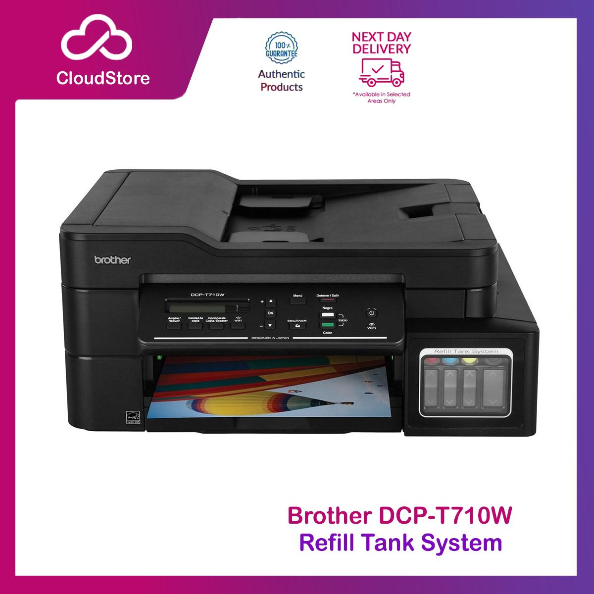 Brother DCP T710W All in 1 Refill Tank System Colored Printer Wifi, Mobile  Print Direct , ADF Print, Scan and Copy with Built-in Wireless Borderless