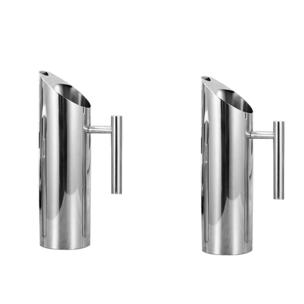 2 Pcs Stainless Steel Water Pitcher with Ice Guard Tea Pot Kettle Jug Cold Beverages Juice Pot Ktv Bar Accessories, 1L & 1.5L