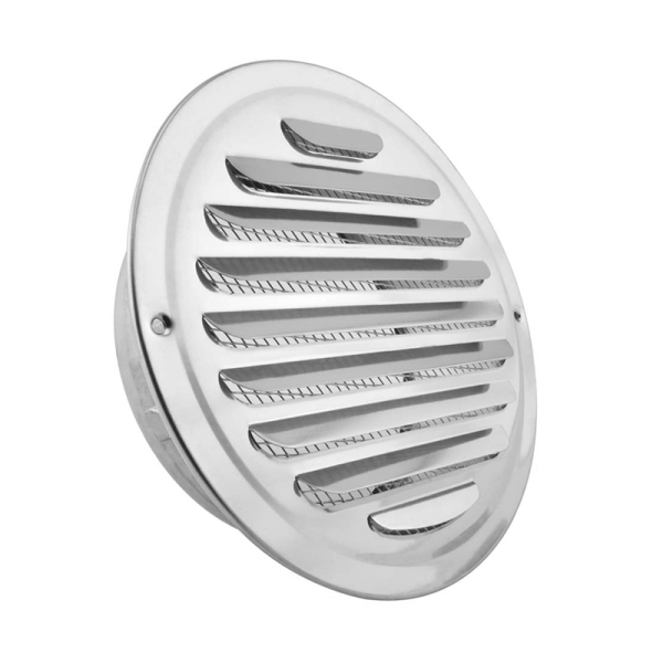 Stainless Steel Air Vents, Louvered Grille Cover Vent Hood Flat Ducting Ventilation Air Vent Wall Air Outlet with Fly Screen Mesh (8 Inch)