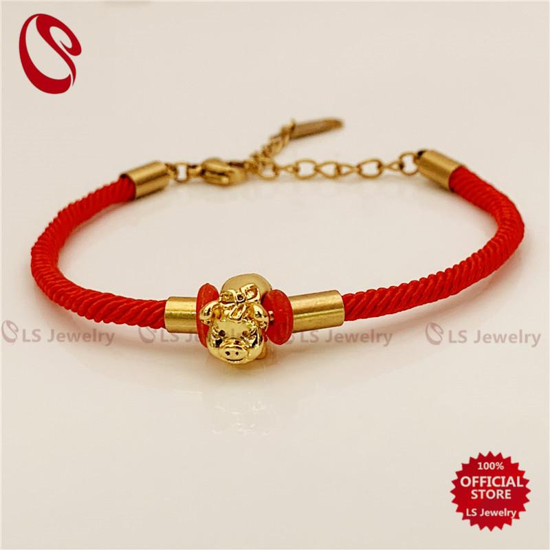 ea91ec405b3632 LS Jewelry Lucky Red string Bracelets Lovers Hand Braided Bead Bracelet the  Chinese Year of the