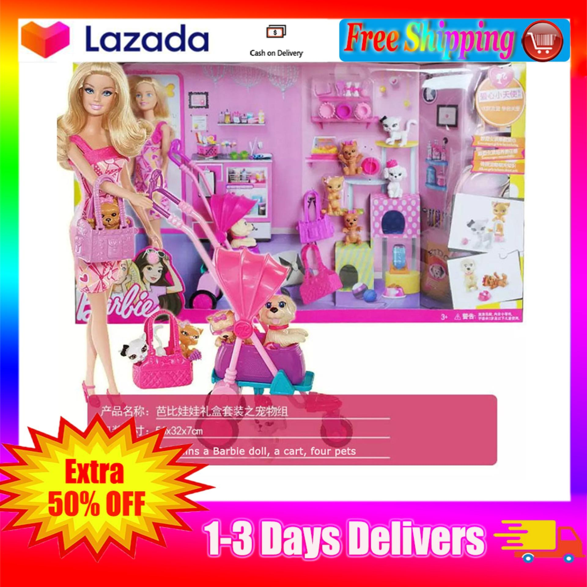 【Free Shipping】Barbie Dlg Princess Girl women hair toys Barbie doll Dolls  Accessories Doll Accessories Barbie Pet Collection