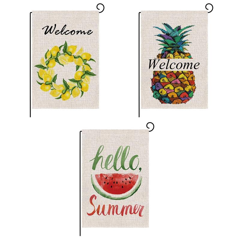 2Pcs Burlap Garden Flag Summer Welcome Double Sided Yard Flags Decorative For Outdoor Party Siêu Khuyến Mãi