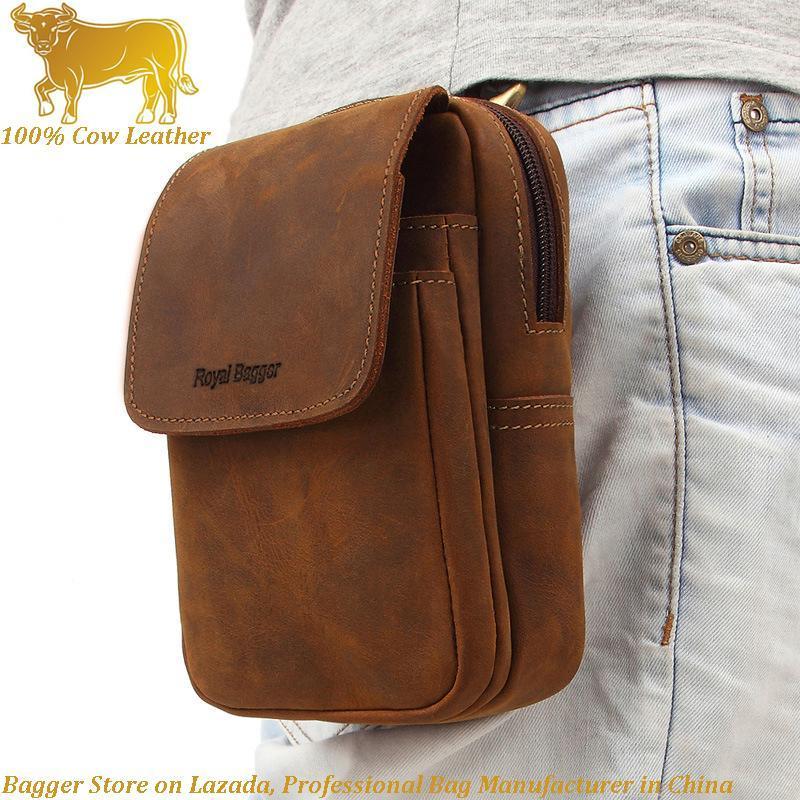 Royal Bagger 100% Genuine Cow Leather Cowhide Men's Purse Crazy Horse Leather Phone Bag Retro