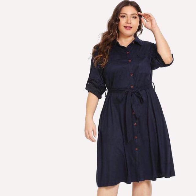 863e3cb89c3e Sebrina fashion Plus size dress casual polo collar short sleeve dress Free  size can fit to