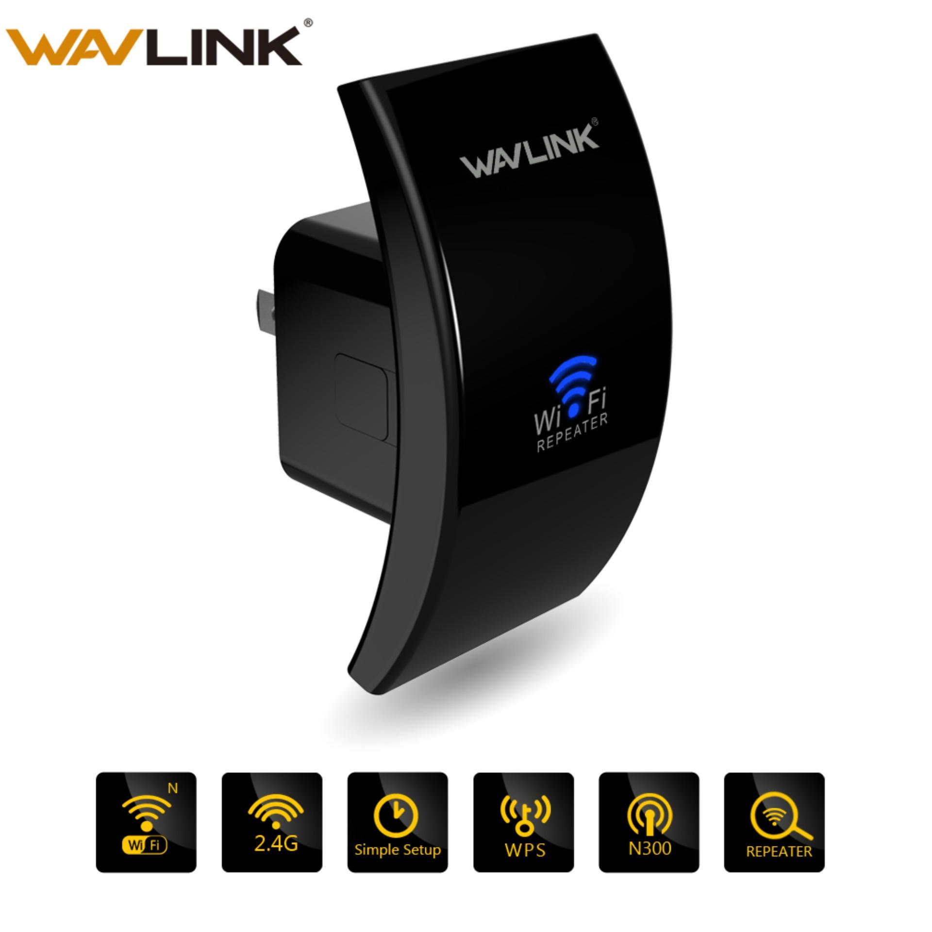 Wavlink N300 Mini Size WiFi Range Extender/ Repeater/Access Point/Wall Plug  Version With 3dBi Internal Antennas/WPS Protection-Black