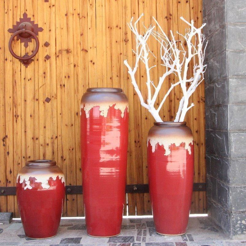Modern Chinese Style Model Room Pots Vase Indoors And Outdoors Water Pithos Red Landing Big Vase Ceramic Plug Dried Flower Vase