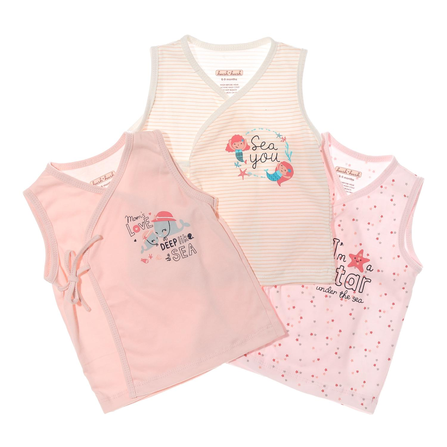 Hush Hush Baby Girls 3-Piece Stars Under The Sea Tie-Side Top Set By The Sm Store.