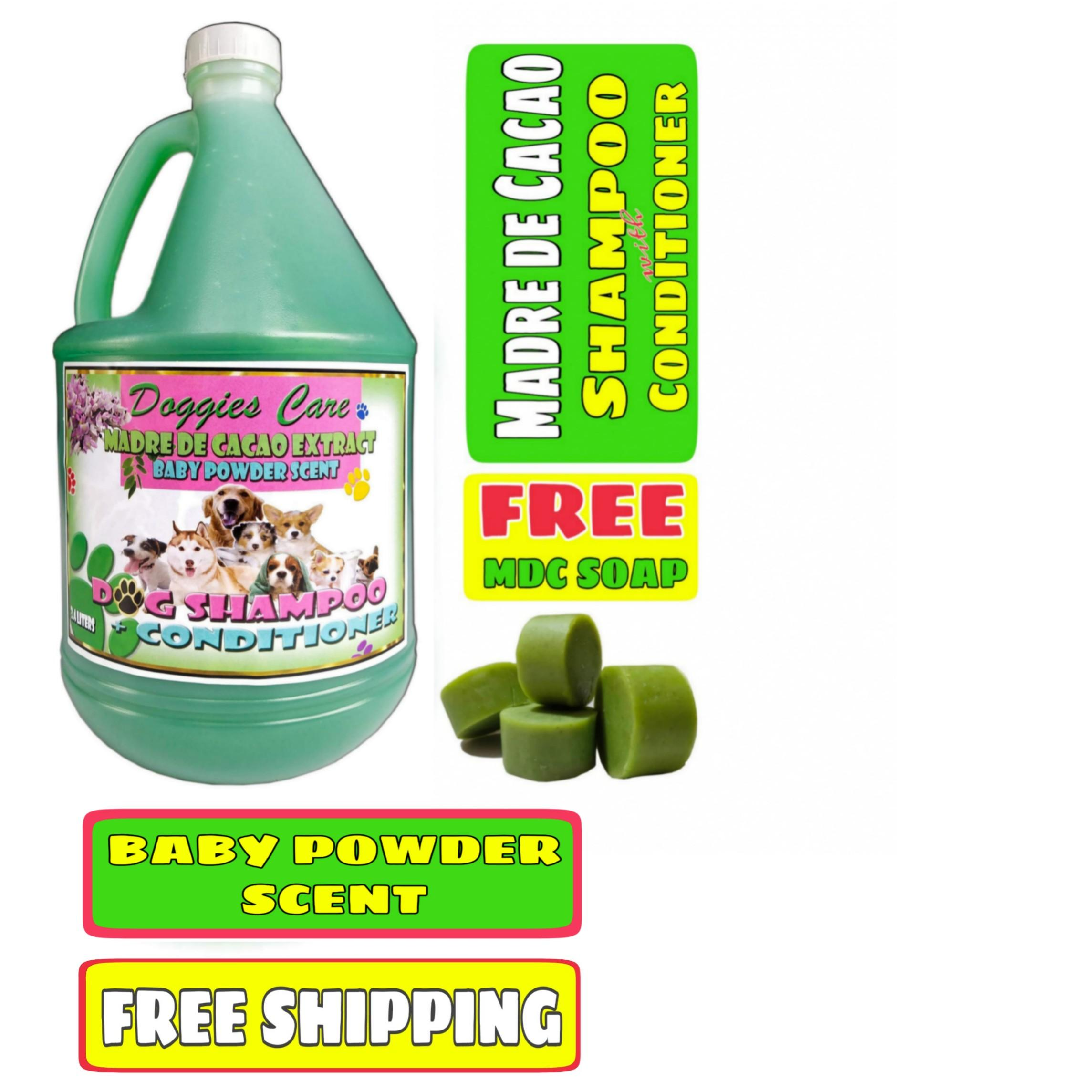 Madre de Cacao Shampoo & Conditioner with Guava Extract - Baby Powder Scent  1 Gallon Green FREE MDC SOAP 2pcs Anti Mange, Anti Tick and Flea, Anti