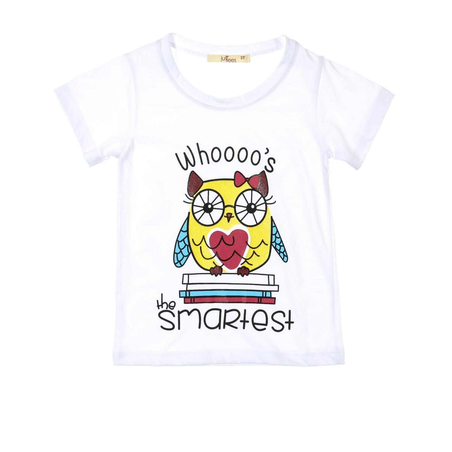 ef3dde7102798 jusTees Toddler Girls Whoooos The Smartest Tee in White