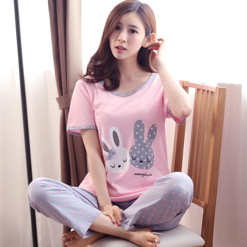 Cute women V-neck pullover tracksuit summer cotton pajamas (Y381 green) Women  Lingerie c2a791f37