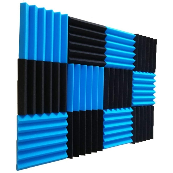 12 Pcs Acoustic Panel Studio Soundproof Foam Wedge Tile Fireproof Studio Foam Sound Wedges 5 x 30 x 30cm