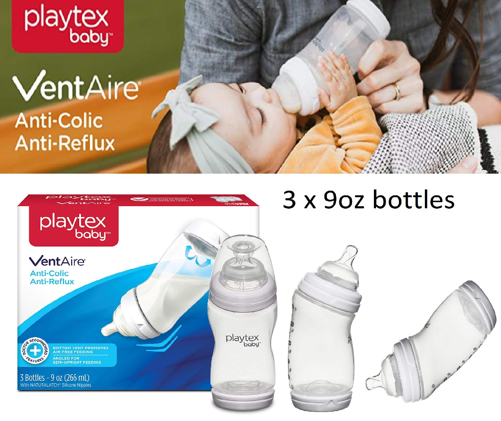 Playtex Baby Ventaire Anti Colic Baby Bottle, Bpa Free, 9 Ounce - 3 Count By Imaginarium.