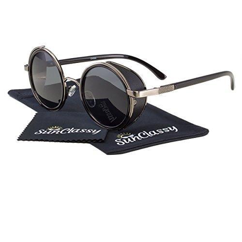 c06b5d079ae Jinqiangui Fashion Glasses Frame Vintage Retro Round Glasses Black Source ·  Sunclassy Metal Frame Side Shield Oval 52mm Hipster Round Sunglasses  Vintage ...
