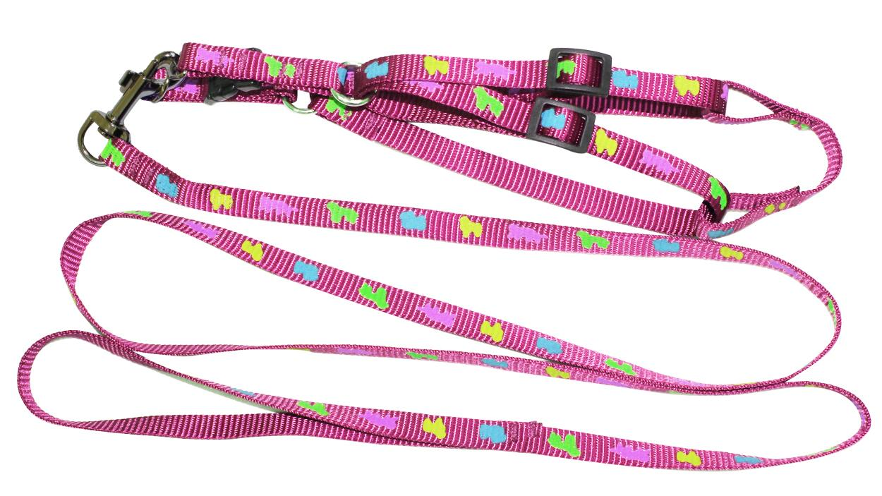 Digisoria Dogs Pattern Small Pet Dog Leash Harness (pink) By Digisoria.