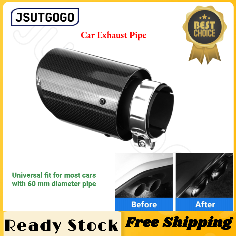 Car Exhaust Pipe Carbon Fiber Style Car Modified Single Outlet Exhaust Pipe Muffler Tip Tail Throat 80-114mm